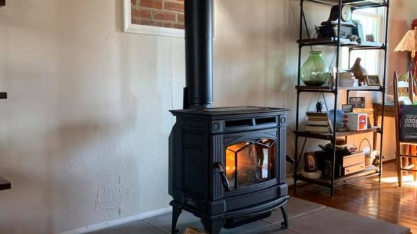 interior stove with wood